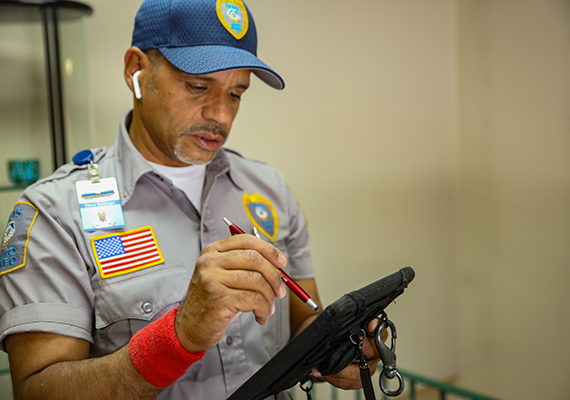 Man checking tablet